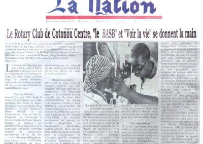 Le Rotary Club de Cotonou Centre, «le BASB» et «Voir la Vie» se donnent la main