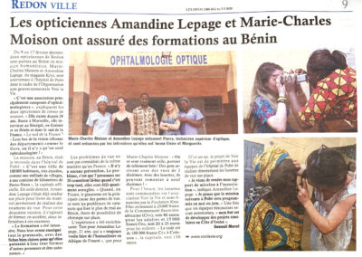 Les opticiennes Amandine Lepage et Marie-Charles Moisson ont assuré des formations au Bénin – 2021